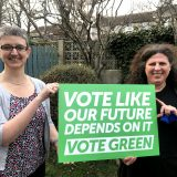 "Maggie & Sylvia with ""Vote like our future depends on it - vote green"" placard"